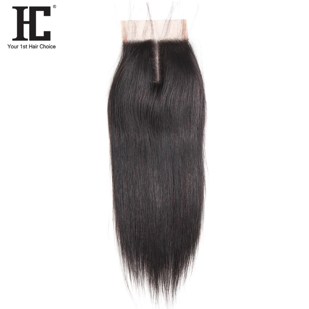 HC Straight Hair Lace Closure Remy Human Hair 4*4 Free Shipping Medium Brown Swiss Lace Closure Free Middle Three Part