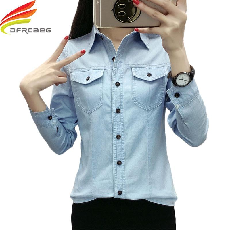 2019 New Female Denim   Blouse     Shirt   Lady Solid Turn-down Collar Jean   Shirt   Women Loose Elegant Women Long-Sleeved   Shirts   Blusa