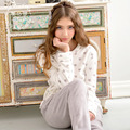 Otoño Invierno Engrosada Lindo Impresión de Las Mujeres Pijamas de Franela Ropa Equipamiento Del Hogar Salón ropa de Dormir Homewear JA5053