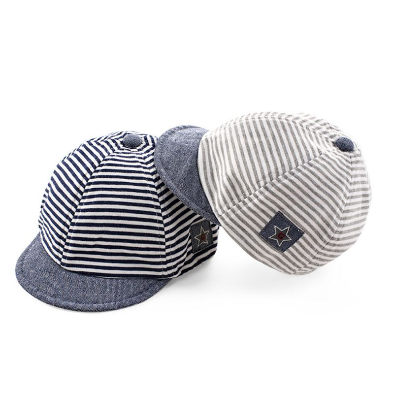 Summer Fashion Baby Striped Hat Cotton Blend Baby Boy Cap Adjustable Stripe Infant Hats for Girls 6-18M