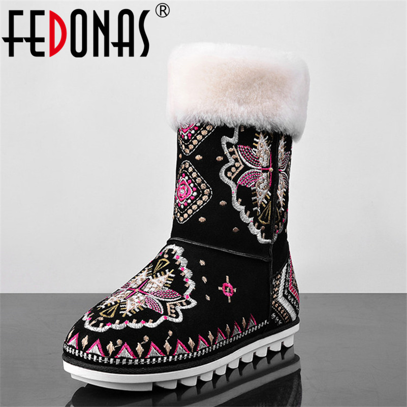 FEDONAS Fashion Embroider Women Genuine Leather Snow Boots Winter Warm Boots Female Women Casual Shoes Woman Flats Boots fedonas new fashion women genuine leather winter warm wool snow boots women ladies flats heels comfortable casual shoes woman