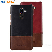 Case For Nokia 7 Plus KEZiHOME Luxury Hit Color Genuine Leather Hard Back Cover Capa For