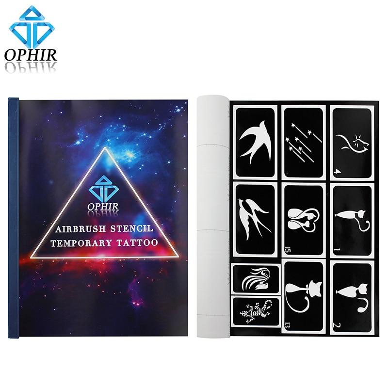OPHIR 100 μοτίβα Αισθητήρια αεροφωτογραφιών για τέχνη τατουάζ σώματος Βαφή σώματος A4 φυλλάδιο Φυλλάδια πρότυπων αεροφωτογραφιών Τατουάζ Stencils_TA094