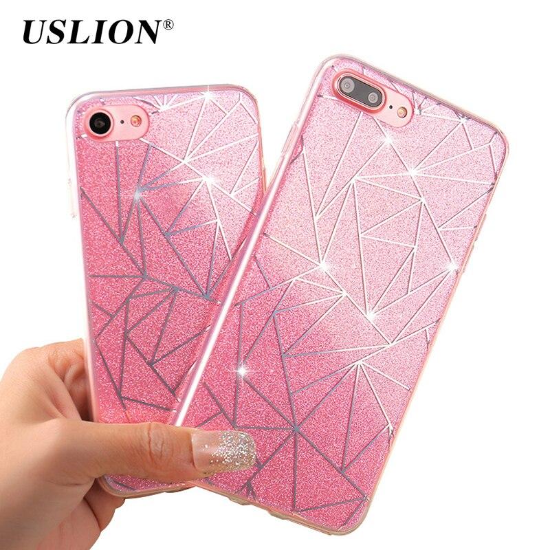 USLION Bling Glitter Case For iPhone X 8 7 6 6s Plus 5 5s SE Geometric Lines Flashing Powder Phone Cases Hard PC Back Cover