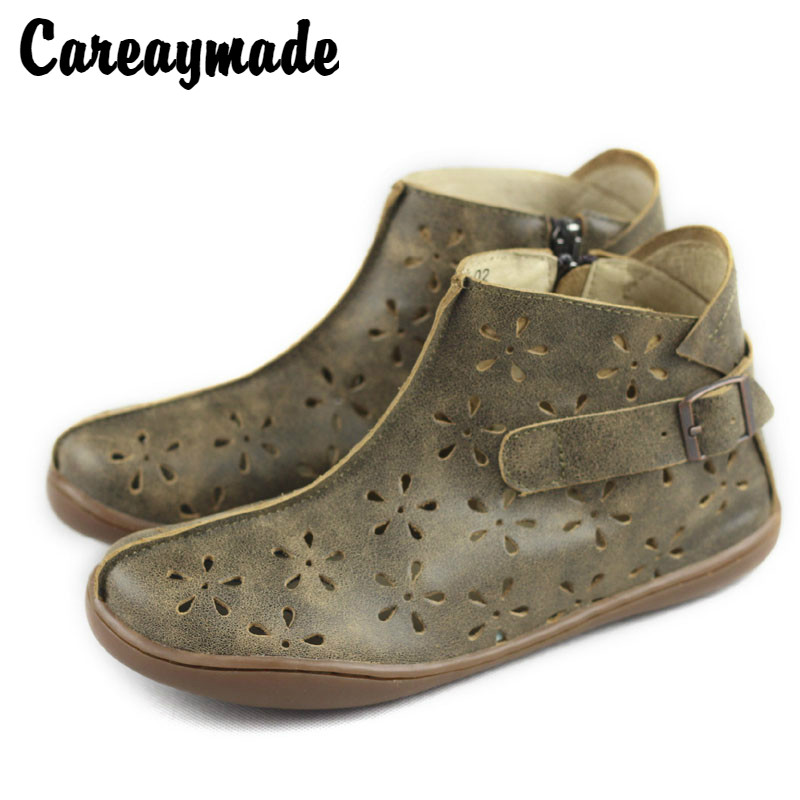 Careaymade Free shipping Sen female genuine leather pure handmade flat boots 2018 summer new style hollowed