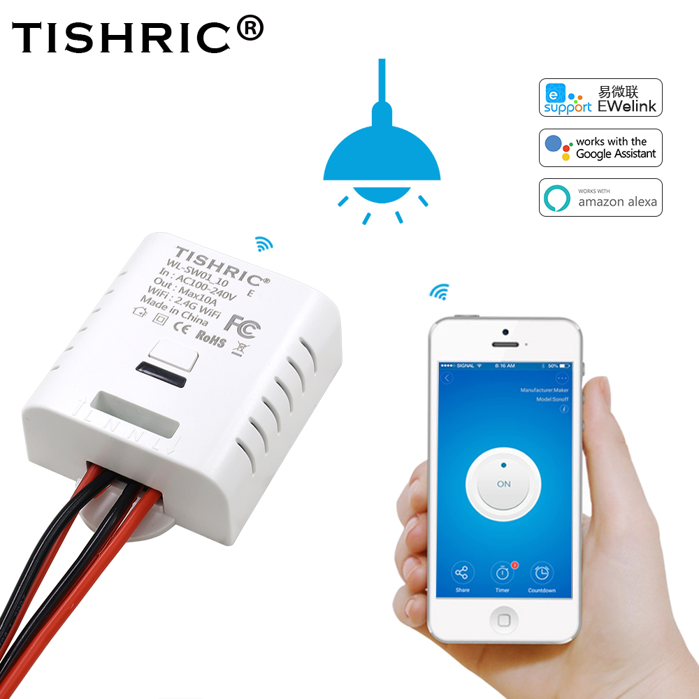 TISHRIC/SONOFF Basic Light WIFI Switch 220V/10A/16A For Smart Home Automation Relay Module Remote Control With google home Alexa