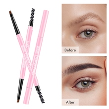 Lovely Pink Pack Double-End Eyebrow Pencil Waterproof Smudge-proof Lasting Easy To Color Eyebrow Pen With Brush stylish leopard pattern double end waterproof smudge proof eyebrow pencil with brush