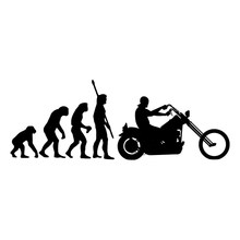 Motorcycle sticker Fashion Human Evolution Motorcycle Car Stickers Fun Reflective Vinyl Decals Black/Silver for Lada(China)