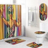 Fashion African Woman style Polyester Shower Curtain Set Non Slip Rugs Carpet for Bathroom Toilet Flannel Bath Mat Set 5pcs /set
