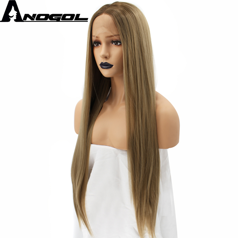 Anogol Natural High Temperature Fiber Long Silky Straight Blonde Ombre Dark Roots Synthetic Lace Front Wig