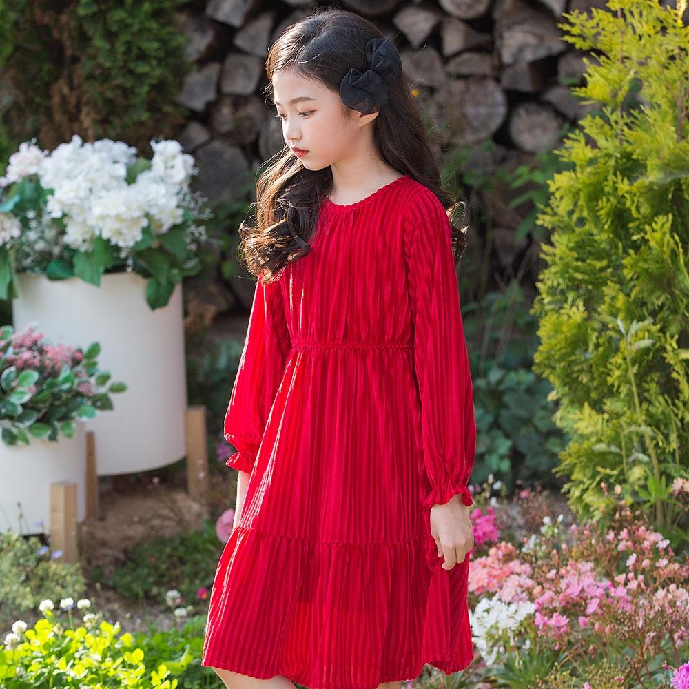 Winter Girls Velvet Dress Party Red Dress Pink Dress 2018 new princess teenage girls clothing