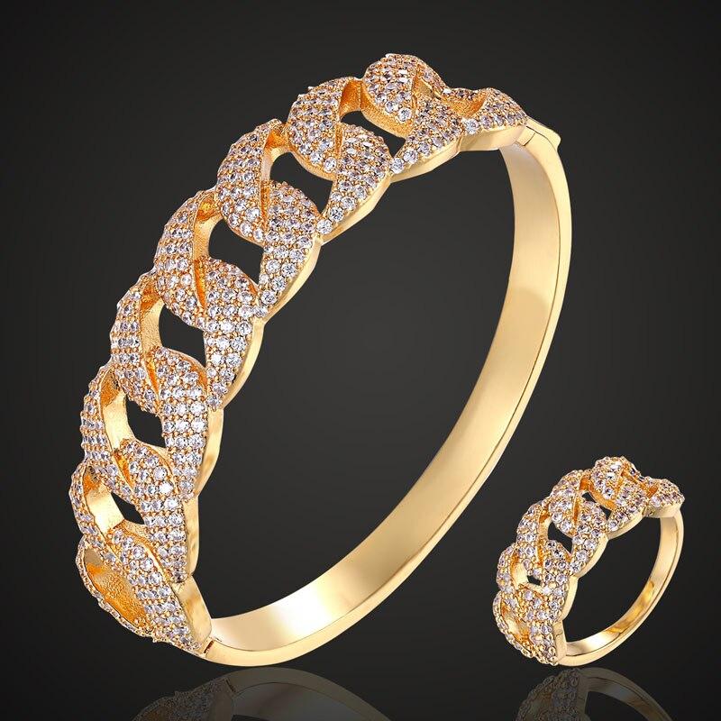 Zlxgirl jewelry Classic Brand Korea design cubic zircon Wedding bangles jewelry sets shiny women s anniversary