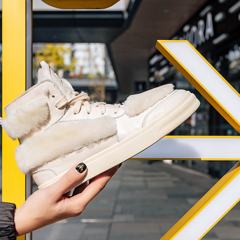 Plat Hiver Nouveau Bottes En Femmes Laine Chaussures blanc Cheville Esrfiyfe forme Chaud Neige De Mode Rouge Pour Véritable Femme Cuir 2019 Plate VpqUzGjMLS