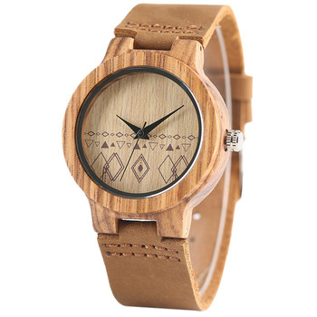 Bohemia reloj de madera pulso cuero 1