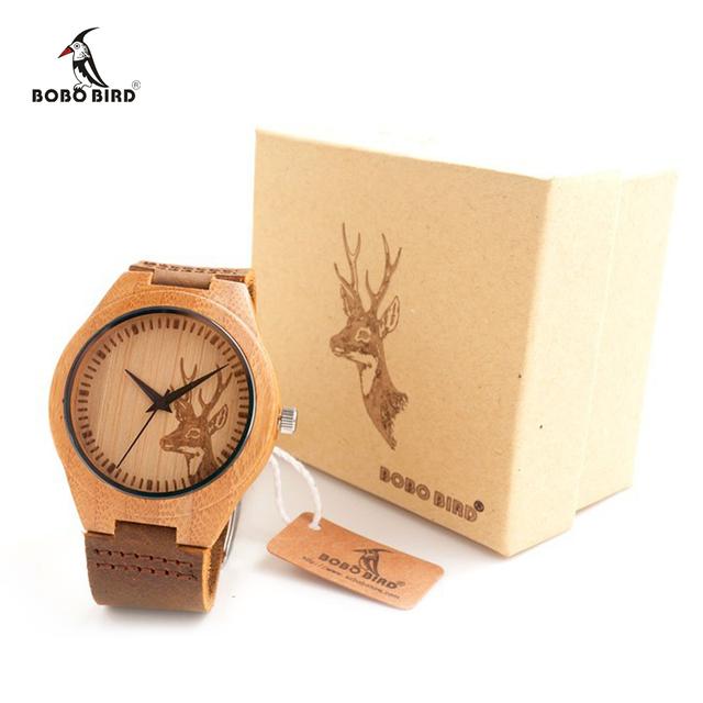 Alce Cabeça gravado Relógios de Madeira Natural Com Couro Genuíno Amantes de Couro relógio de Pulso de Luxo Mens Relógio De Madeira como Presentes
