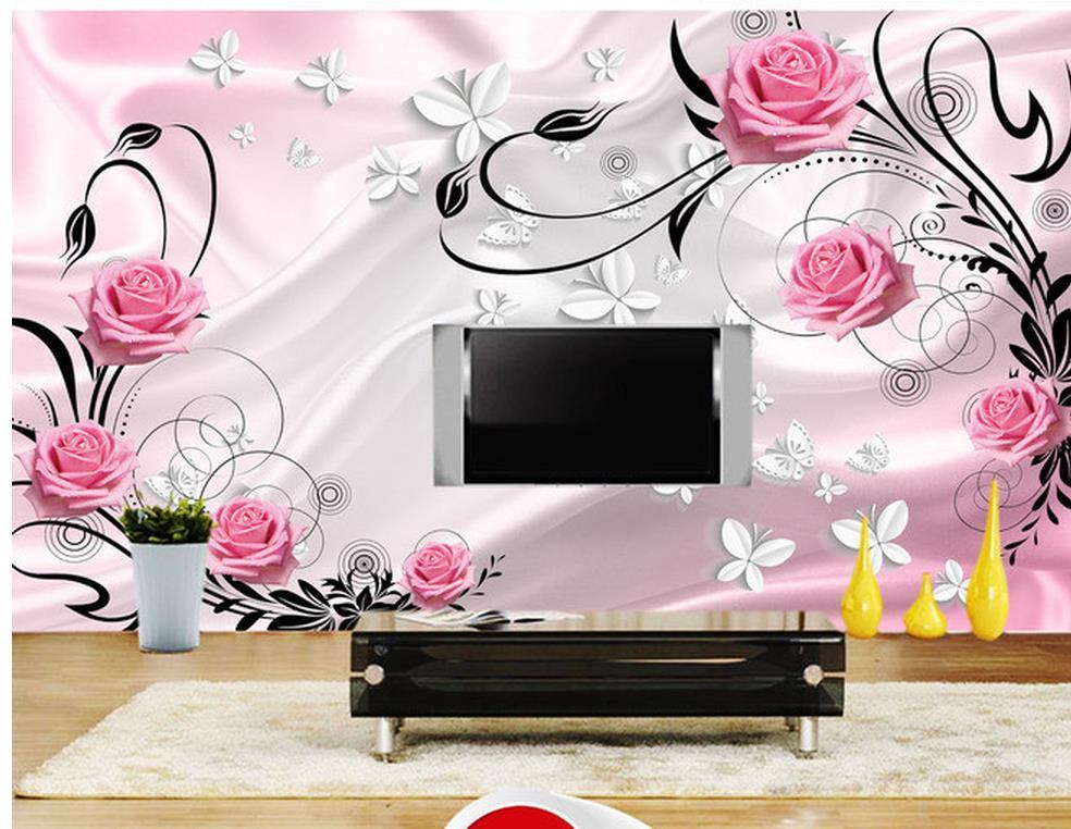 Carta Da Parati Fiori Rosa : Carta da parati moderna 3d fiore rosa 3d tv farfalla sfondo foto