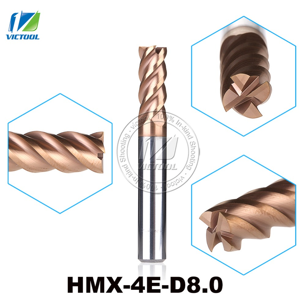 HMX-4E-D8.0 High Speed Cutting And Try Cutting 4-Flute Flattened End Mills Milling Cutter End Mills Straight Shank Tool zcc cthm hmx 4efp d8 0 solid carbide 4 flute flattened end mills with straight shank long neck and short cutting edge