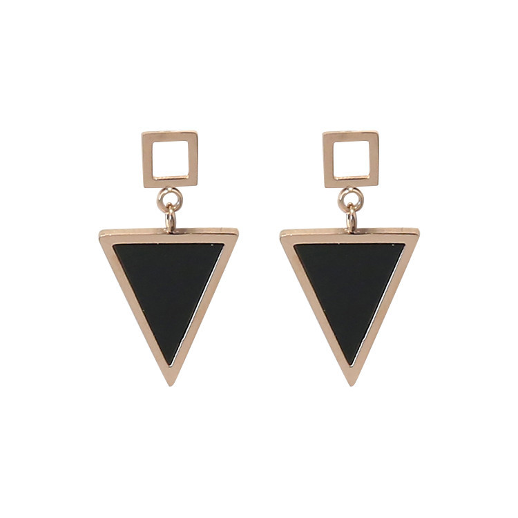 Geometric Triangle Titanium Steel Earring For Women Stainless Steel Stud Earrings Jewelry Rose Gold Color Fashion Jewelery A4306