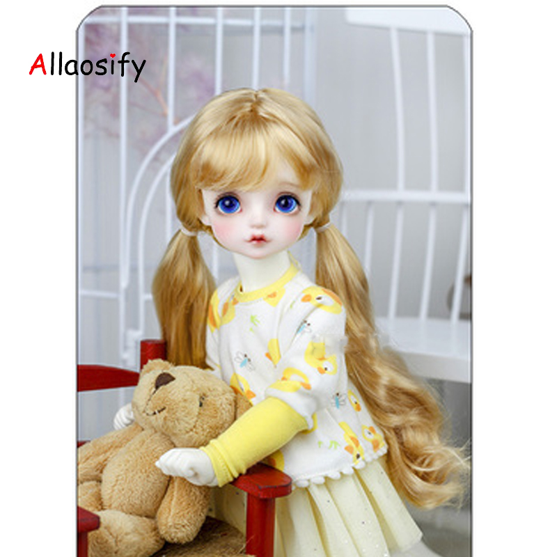 Allaosify Lovely Curly Doll Wig 1/4 1/3 1/6 1/8 BJD Wigs  Doll Accessories Resin Doll Collection Doll Wigs With Two Ponytails
