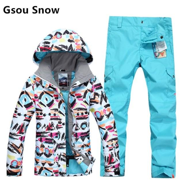 fe2406023 Gsou Snow Winter sports ski jackets women graffiti print snowboard ...