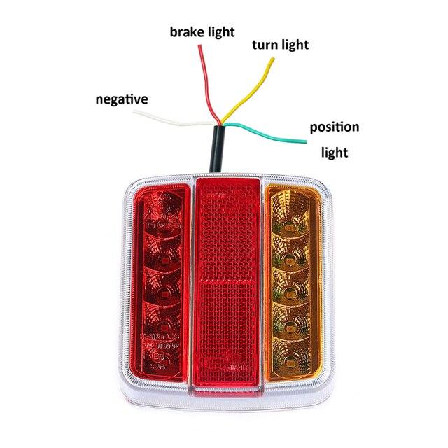 1 ชิ้นไฟ LED 12 V รถบรรทุกด้านหลังโคมไฟป้ายทะเบียนรถยนต์กันน้ำ LED ตัวบ่งชี้ตำแหน่งหยุดโคมไฟ