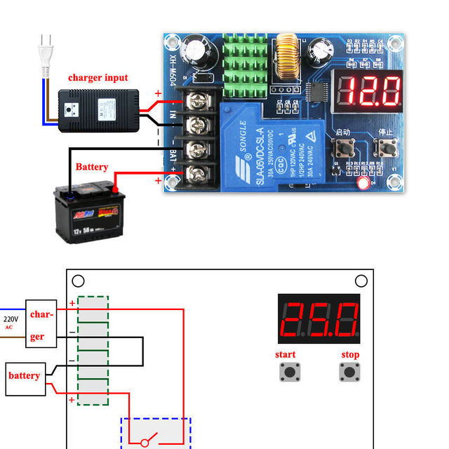 Dc 6 〜 60v 12 v 24 v 48 12vの鉛酸リチウムイオン電池充電器制御充電コントローラモジュール保護スイッチ