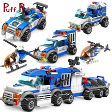 367PCS City Police Cars Trucks Helicopter Model Building Blocks Set Figures Weapon Toys For Children