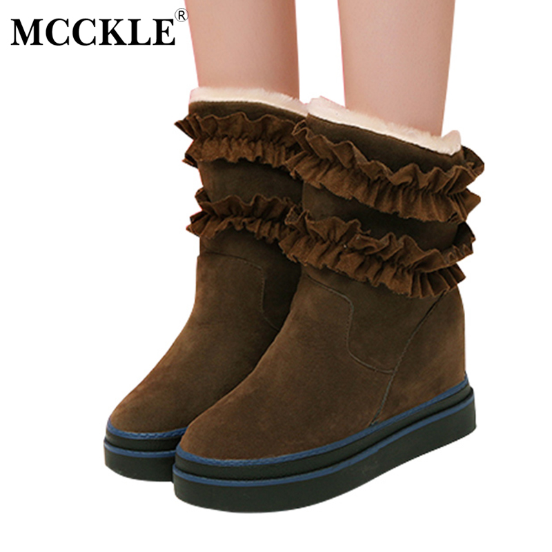 MCCKLE Female Winter Warm Plush Ankle Snow Boots 2017 Women Fashion Lotus Leaf Side Fur Slip On Platform Solid Style Shoes mcckle female winter warm plush ankle snow boots 2017 women fashion lotus leaf side fur slip on platform solid style shoes