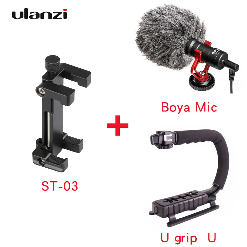 Ulanzi ST-03 Phone Tripod Mount Clip Adapter for iphone6/7/8 Android with cold shoe for Microphone Light