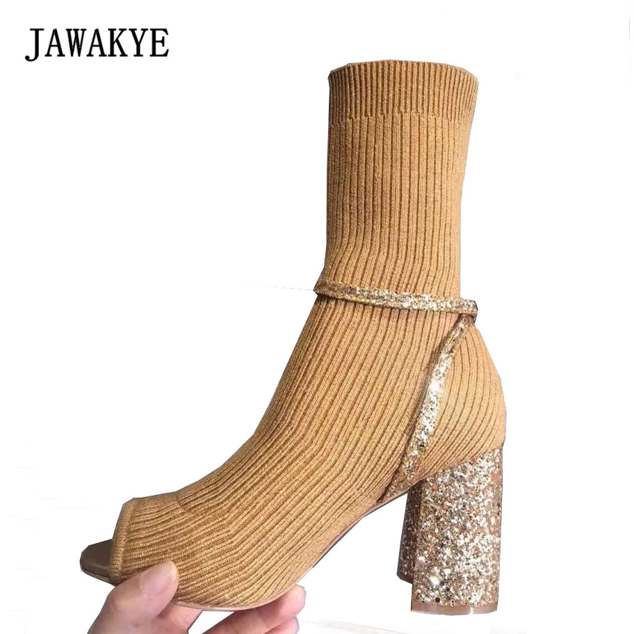 JAWAKYE Nude Knitted Sock ankle boots women chunky high heel peep toe Slim Slip on Ankle Strap Shoes Women Bling Sock boots недорого