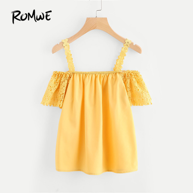 a44b85a0467f ROMWE Women Open Shoulder Hollow Out Lace Sleeve Blouse Women Tops Summer  2018 Yellow Short Sleeve Sexy Blouse
