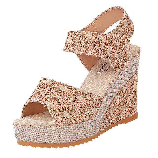 b0ef27c18060 Women Shoes Summer Design Fashion Women Platform High-heeled Wedge Sandals  Sponge Thick Bottom Peep Toe Shoes for Female Shoes