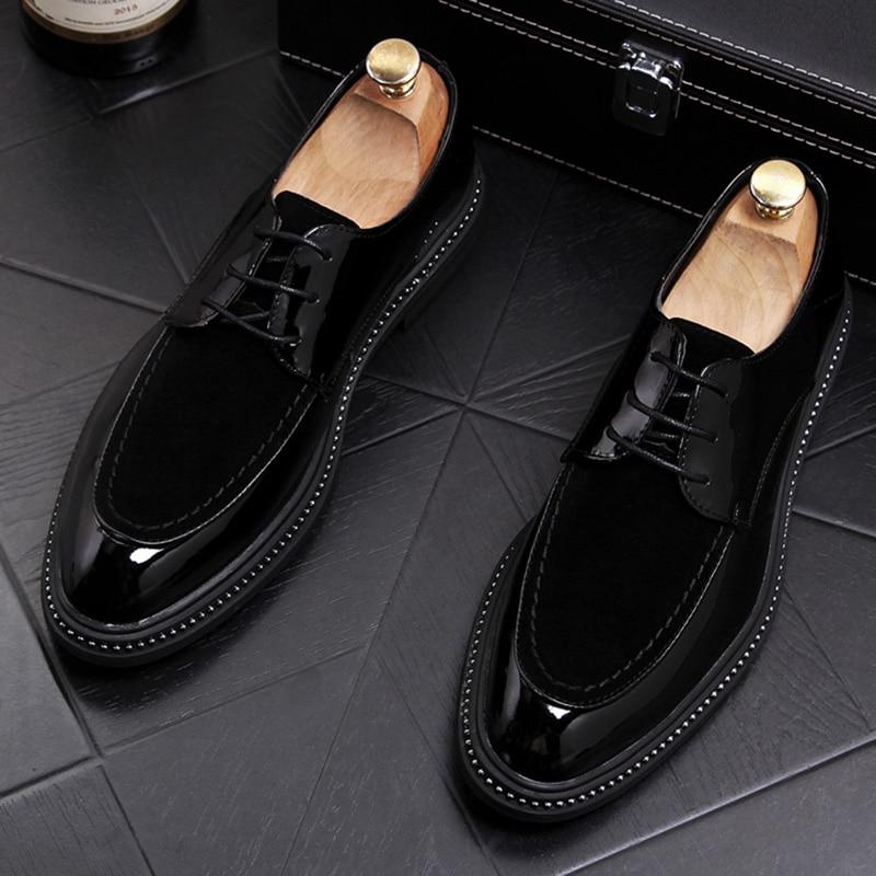 British fashion design men business office formal dress black genuine leather shoes platform gentleman shoe comfortable sneakers