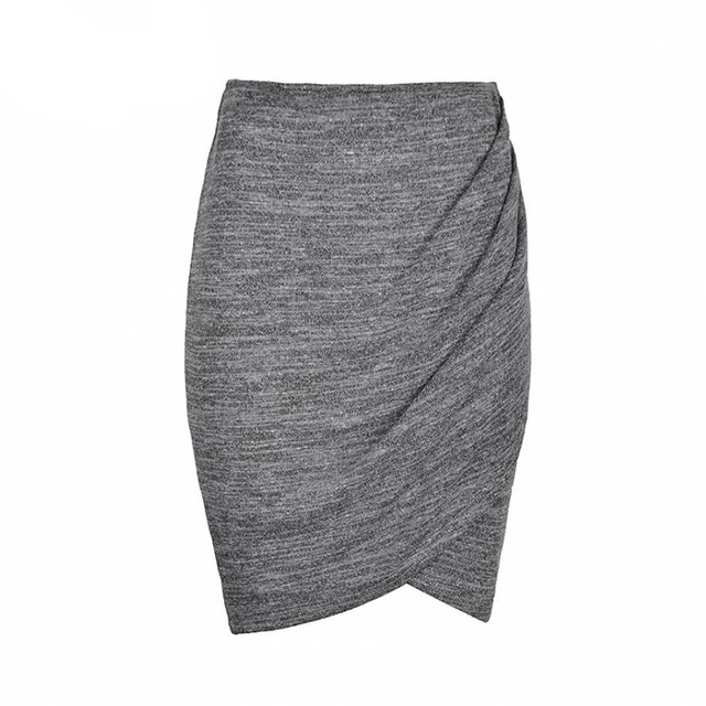 Women Natural casual Pencil Solid Skirts Female Chic Beauty skirt plus size clothing elegant gray lady midi skirts 6291