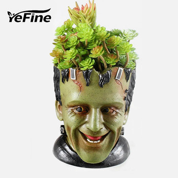 YeFine Resin Flower Pots For Garden Planters Creative Cartoon Statue & Animal Desktop Bonsai Pots Succulent Plant Pot Flowerpot