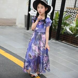 Image 3 - Kız çocuk yaz elbisesi plaj çiçek uzun çocuk elbise tatil plaj elbise çocuklar genç kız giysileri 5 6 8 10 12 13 yıl