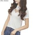 Novedad Femenina Camiseta de Manga corta Negro Blanco Dulce Corazón de Malla Transparente Ahueca Hacia Fuera Las Camisetas Tops de Las Mujeres S-3XL