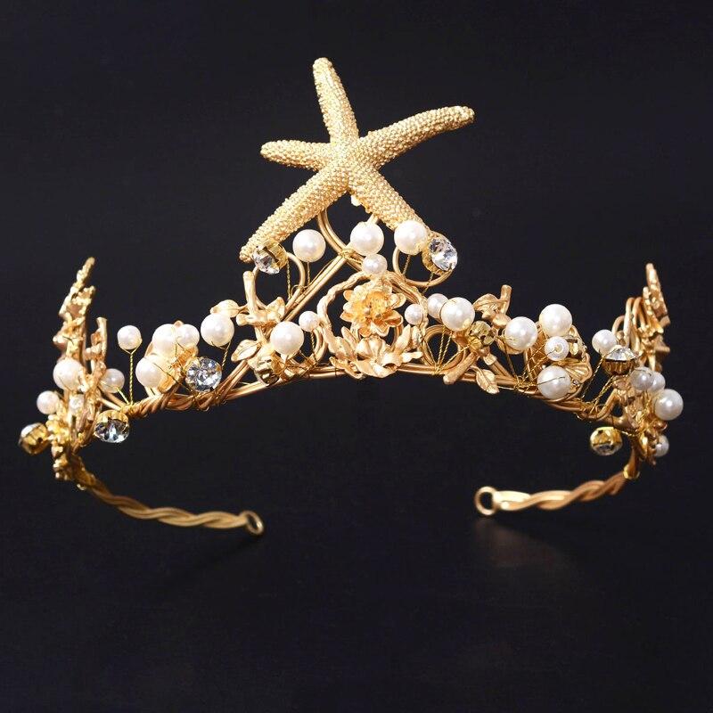 Vintage Gold starfish Hochzeitskronen Perle Braut Tiara hochzeit Haarschmuck Braut Stirnbänder Frauen Perty Kopfschmuck Prom