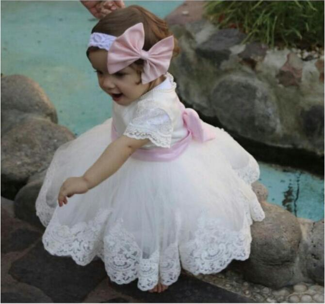2017 Lovely Baby Girls Puffy Birthday Dress with Headband Bow White Lace Little Girls Formal Wear Flower Girl Dress Any Size sweet lovely rhinestone feather plume unusual angel girls baby headband white