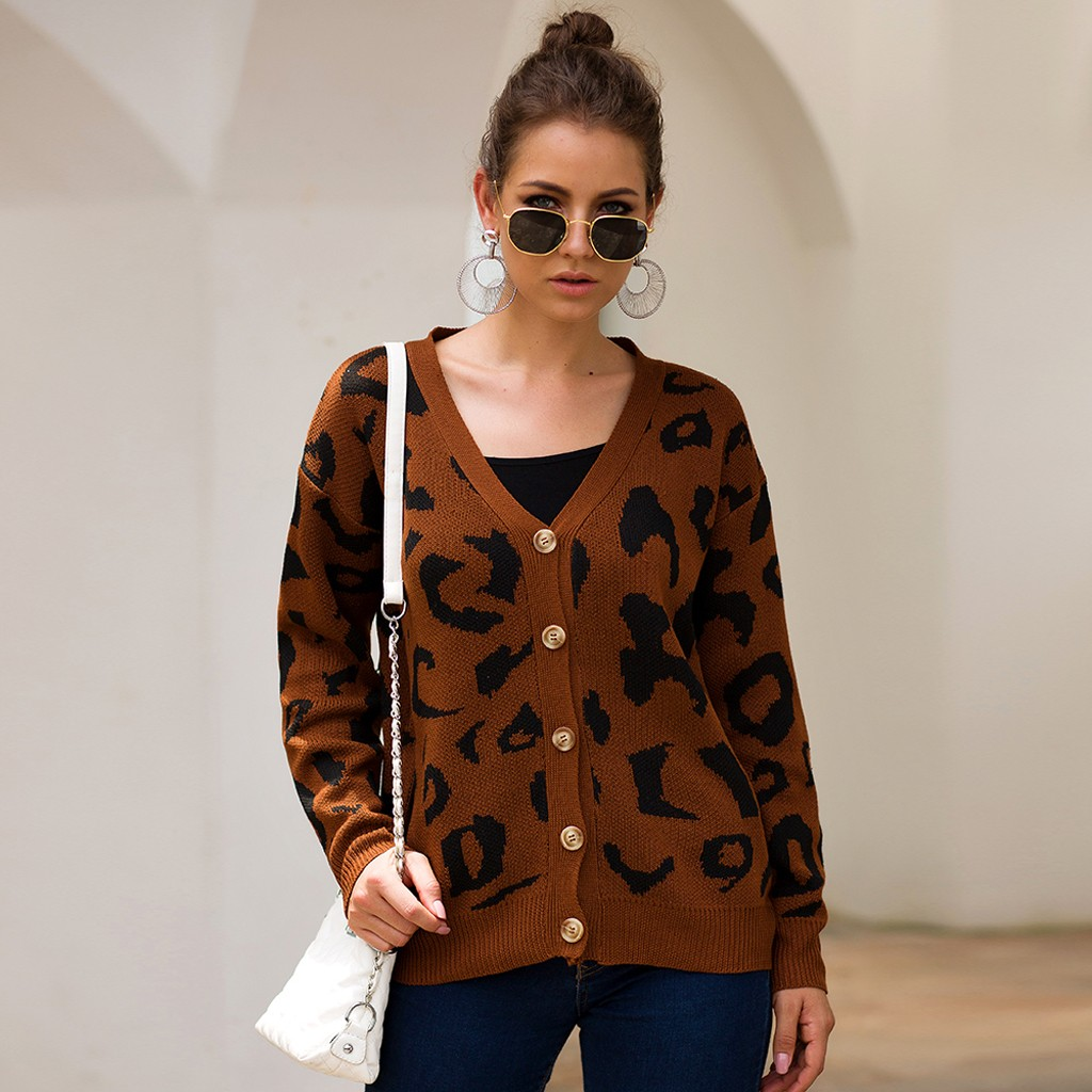 Women Knitted Top Leopard Print Long Sleeve Cardigan  Sweater Coat Fashion Women's clothing Large size#G72019(China)
