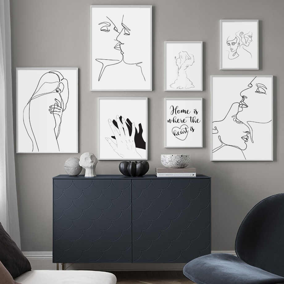 Abstract Line Drawing Love Kiss Sexy Girl Wall Art Canvas Painting Nordic Posters And Prints Wall Pictures For Living Room Decor