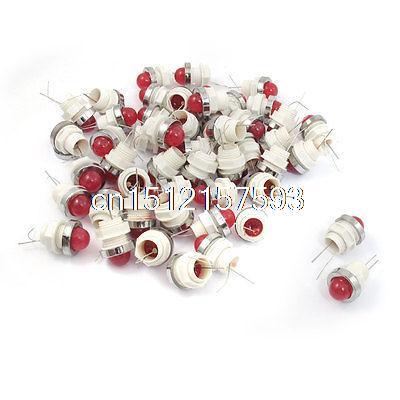 50 Pcs 10mm Threaded 6.3VDC Red LED Lamp Indicator Pilot Light AD11-10/20