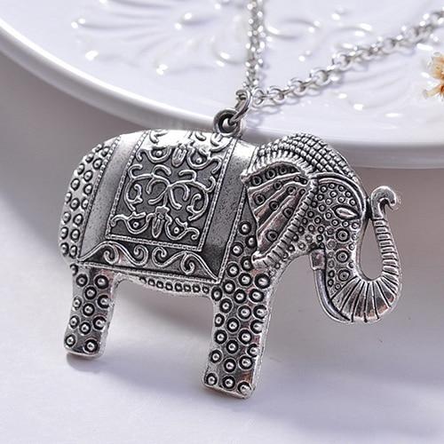 24 pcs Charm Elegant Fashion Elephant Pendant Sweater Chain Retro Silver Color Necklace