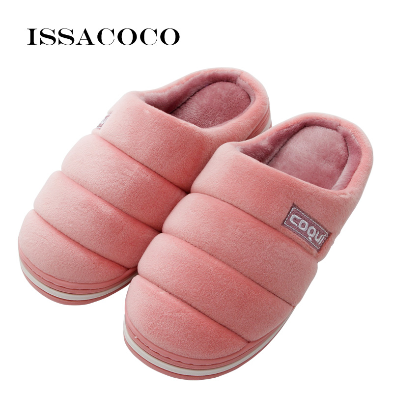 ISSACOCO Women Winter Warm Slippers Cotton Lovers Home Furry Shoes For Bedroom Zapatillas
