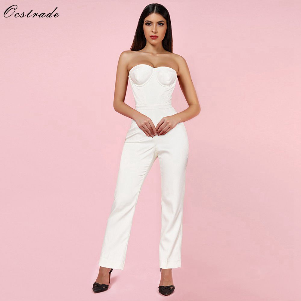 Ocstrade New Arrival 2019 Women Satin Corset Sexy Strapless Bodycon Jumpsuit