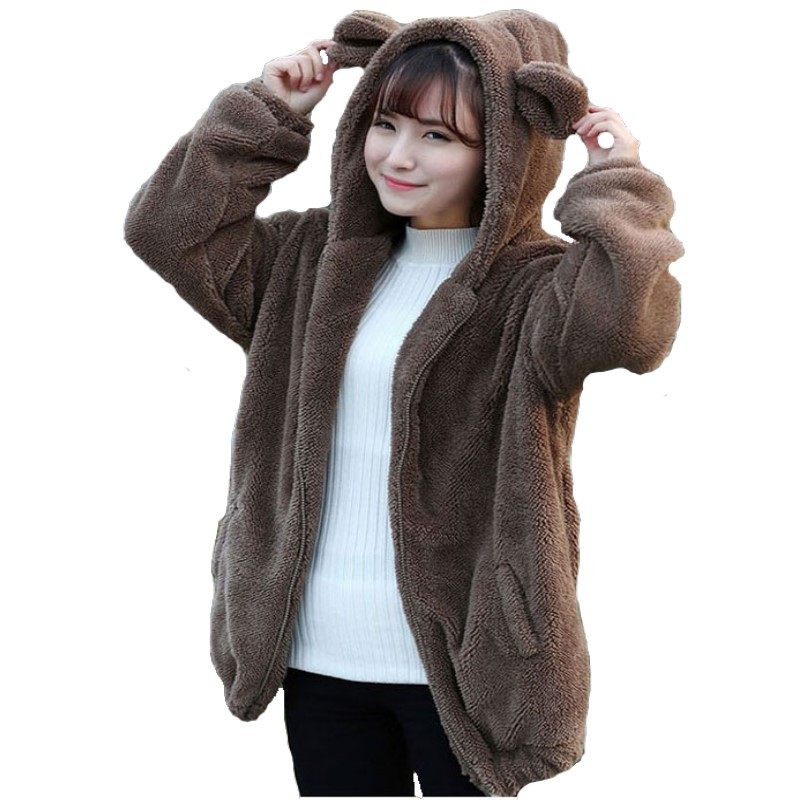 2018 autumn women bear ear hoodies girl winter loose. Black Bedroom Furniture Sets. Home Design Ideas