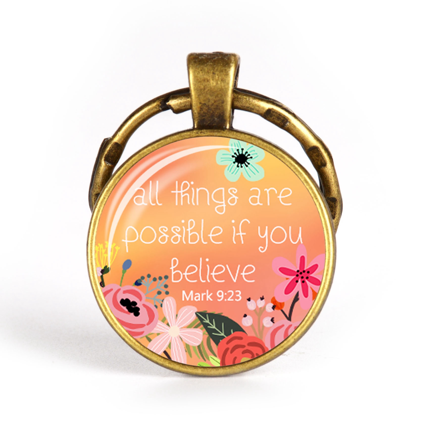 Christian Keychain Glass Pendant Bible Verse Key Chains Spiritual Quote Antique Bronze Key Ring Scripture Faith Jewelry