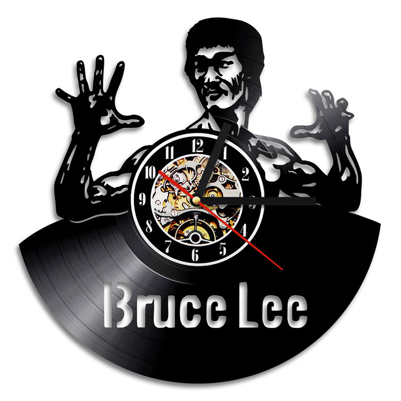3D Hollow Kung Fu Master Bruce Lee Design Vinyl Record Clock Home Wall Art Creative CD LED Clock Vintage Style  Room Decor