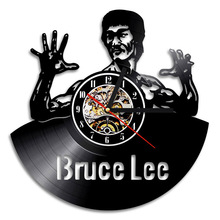 3D Hollow Kung Fu Master Bruce Lee Design Vinyl Record Clock Home Wall Art Creative CD LED Clock Vintage Style  Room Decor wall hanging bruce lee kung fu dragon tapestry
