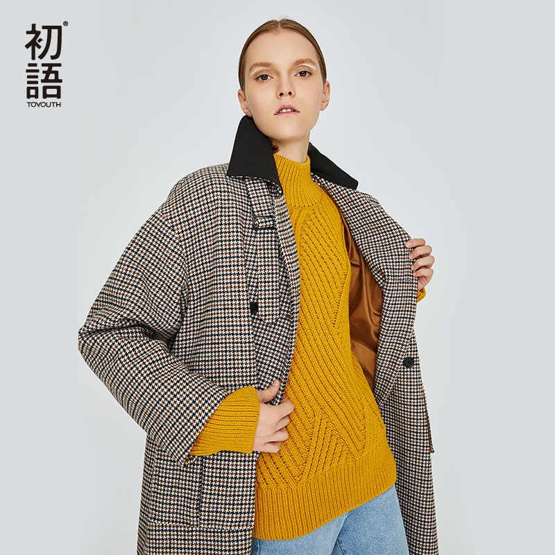Toyouth плед длинное пальто теплый с длинным рукавом Смеси Проверено Однобортный пальто для женщин Корейский смеси Abrigos Mujer Elegante